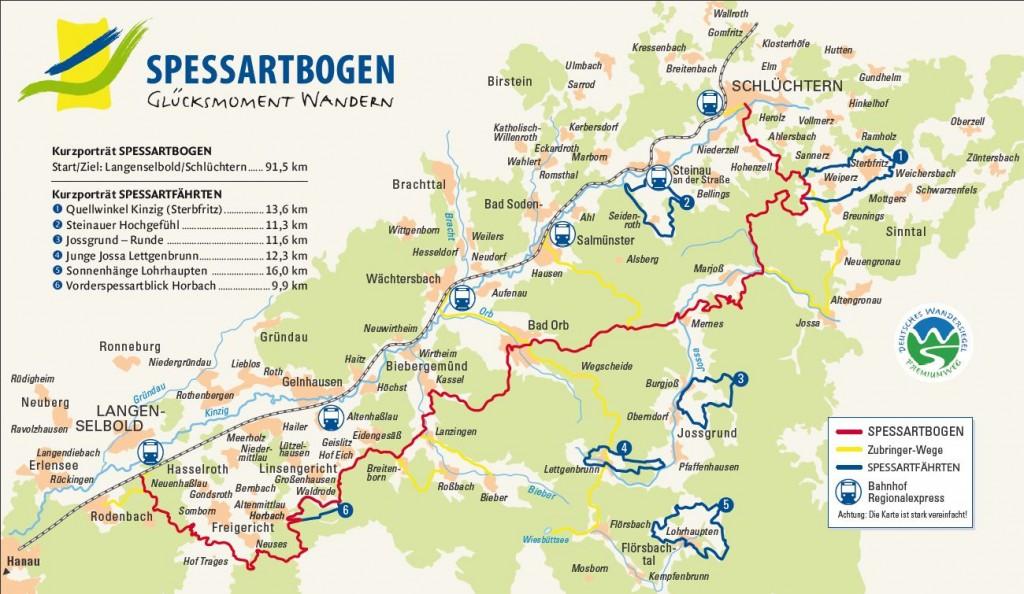 """Der neue Premiumwanderweg """"Spessartbogen"""" führt auch durch das Steinauer Stadtgebiet."""